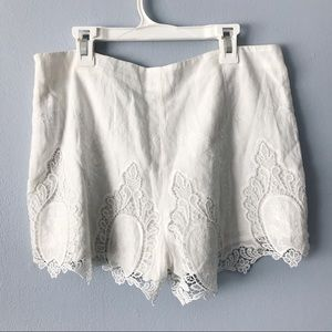 White Lace Detailed Shorts